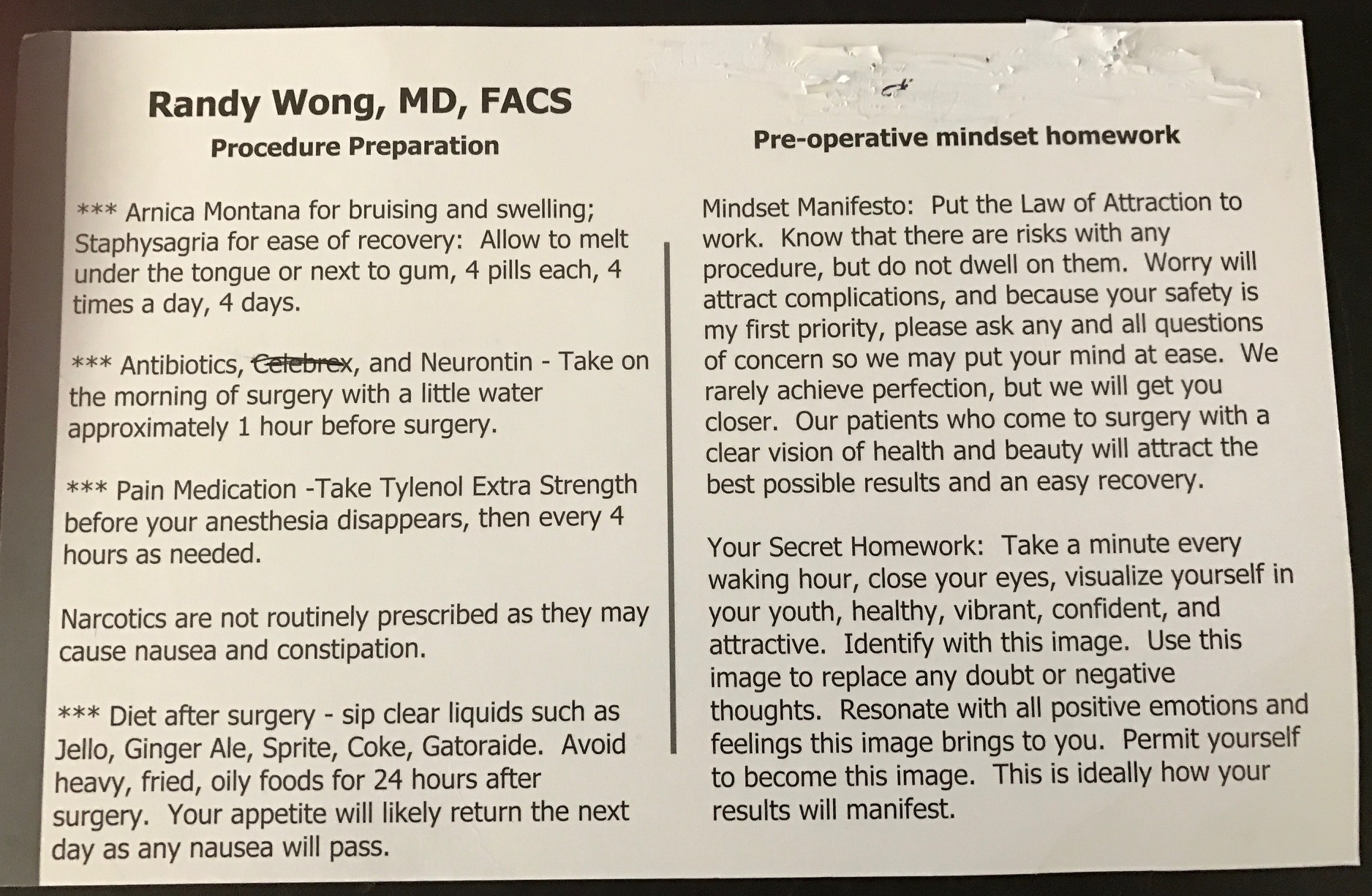 pre op instructions for turp