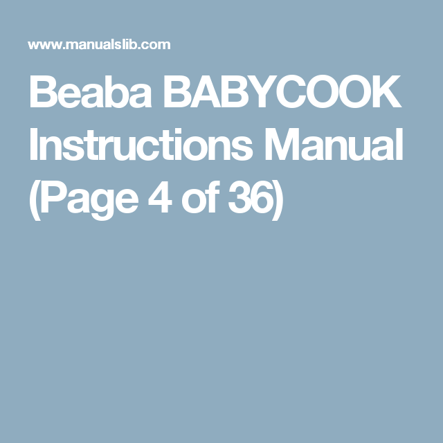 beaba babycook baby food maker instruction manual