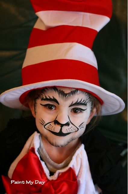 cat in the hat face paint instructions
