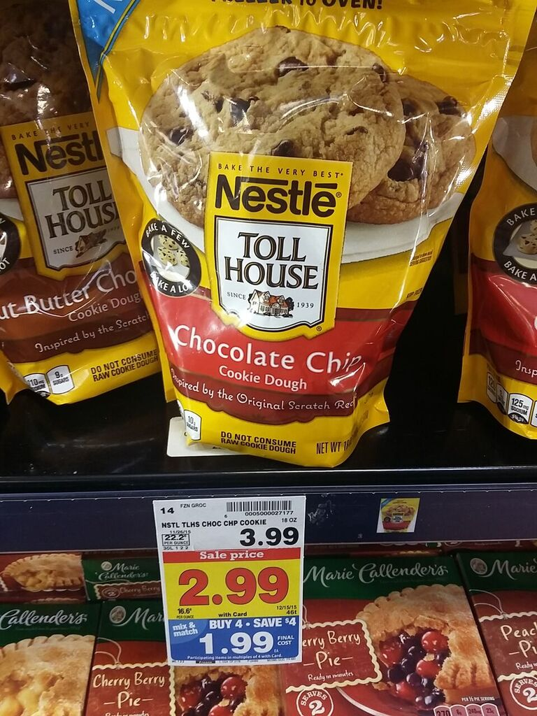 nestle toll house premade cookie dough baking instructions