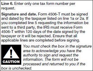 form 4506 t instructions