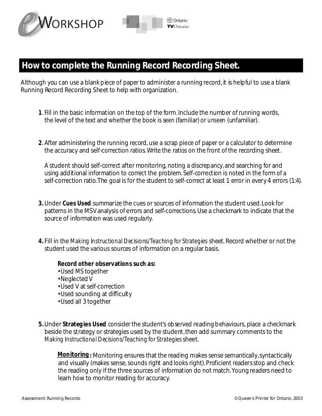 running record instructional level