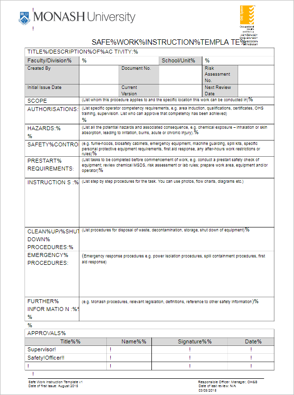 simple work instruction template