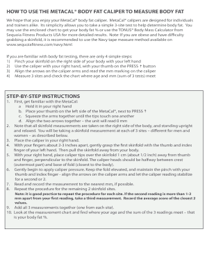 metacal body fat caliper instructions