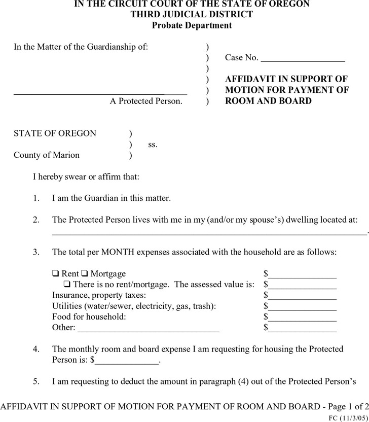 affidavit of support instructions