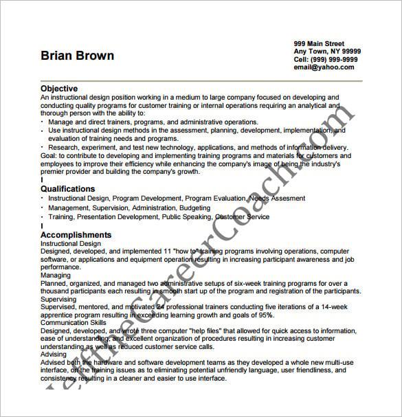 career objective for instructional designer