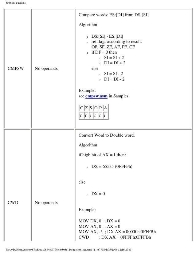 emu 8086 instruction set