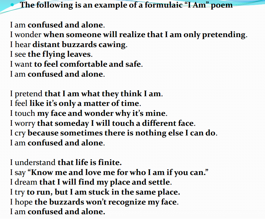 i am poem instructions