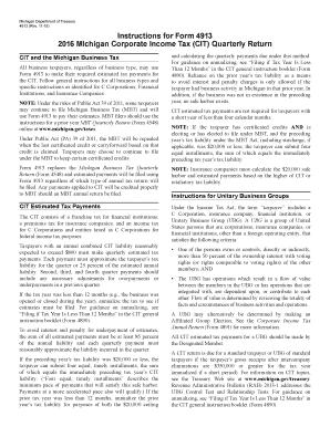 michigan corporate income tax return instructions 2016