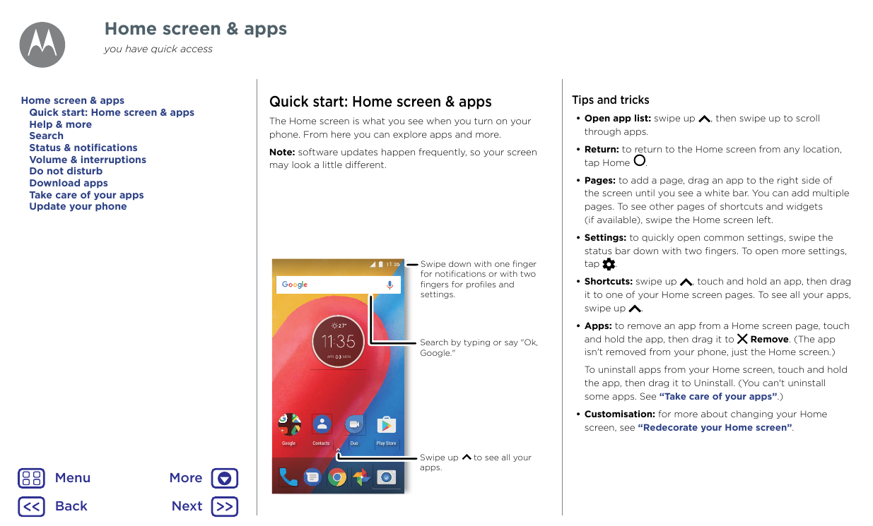 motorola moto e operating instructions
