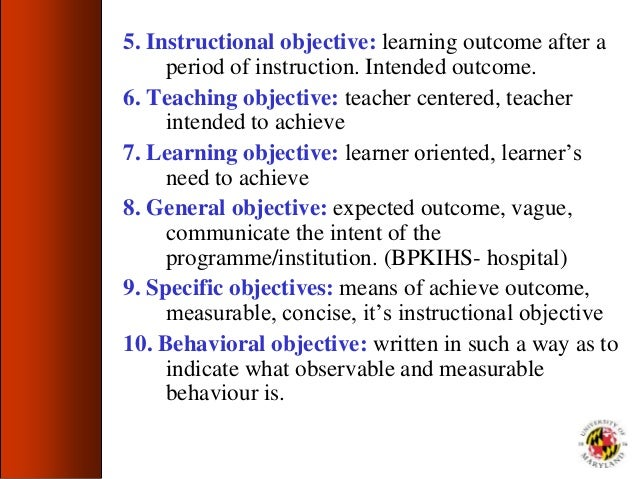 purpose of instructional objectives