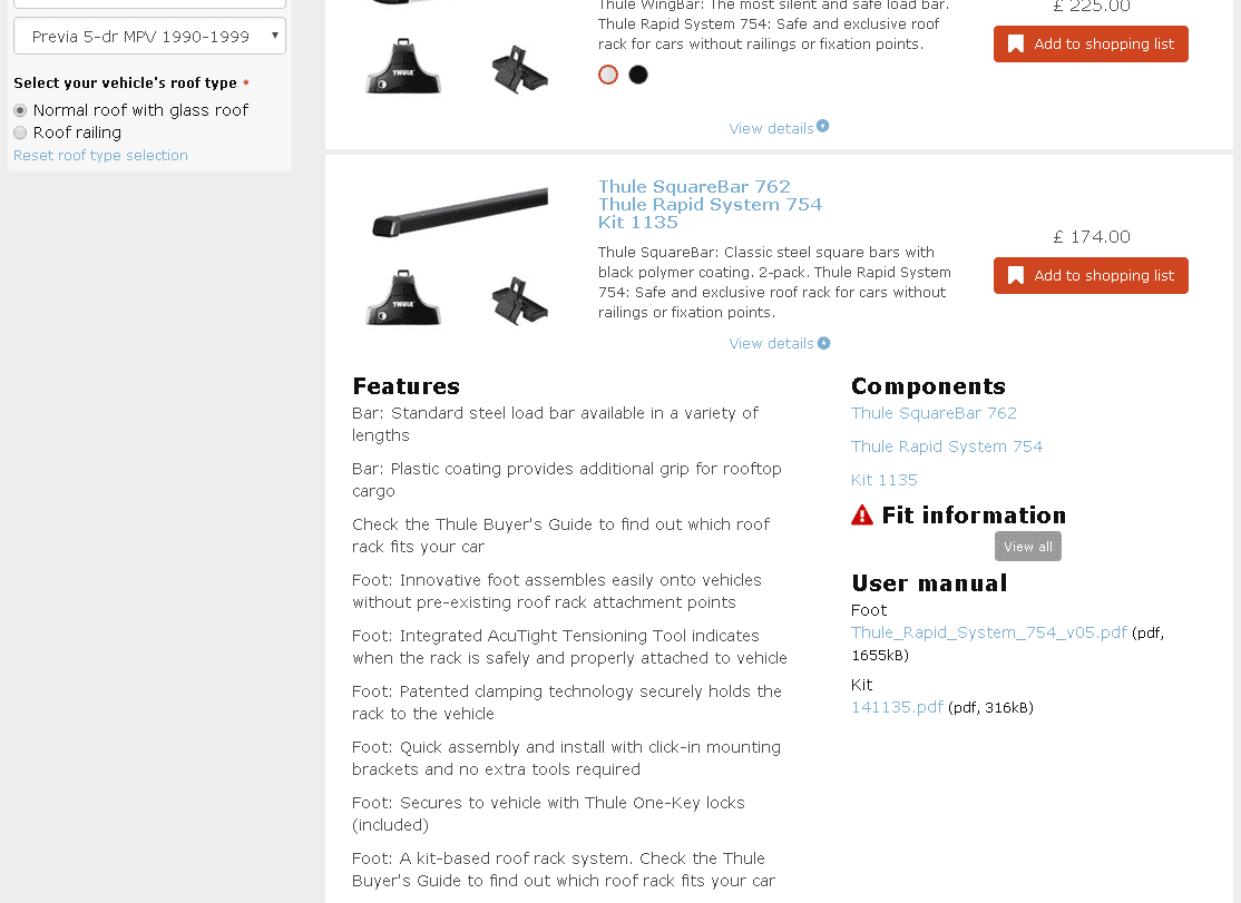 thule 750 foot pack fitting instructions